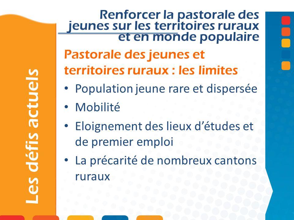 Pastorale des jeunes et territoires ruraux : les limites Les défis actuels Renforcer la pastorale des jeunes sur les territoires ruraux et en monde po
