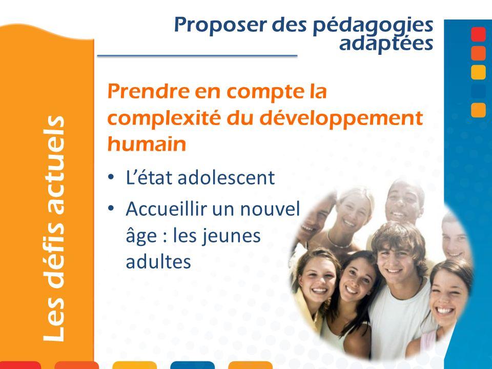 Prendre en compte la complexité du développement humain Les défis actuels Proposer des pédagogies adaptées Létat adolescent Accueillir un nouvel âge :