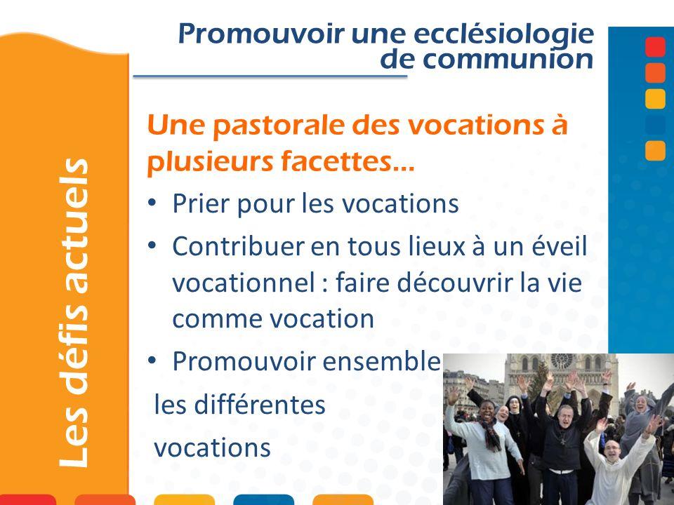 Une pastorale des vocations à plusieurs facettes… Promouvoir une ecclésiologie de communion Prier pour les vocations Contribuer en tous lieux à un éve