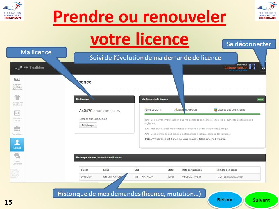 Prendre ou renouveler votre licence Suivi de lévolution de ma demande de licence Historique de mes demandes (licence, mutation…) Ma licence Se déconnecter 15 Suivant Retour