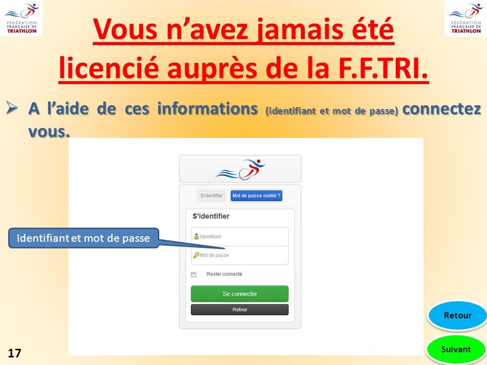 Vous navez jamais été licencié auprès de la F.F.TRI. A laide de ces informations (identifiant et mot de passe) connectez vous. A laide de ces informat