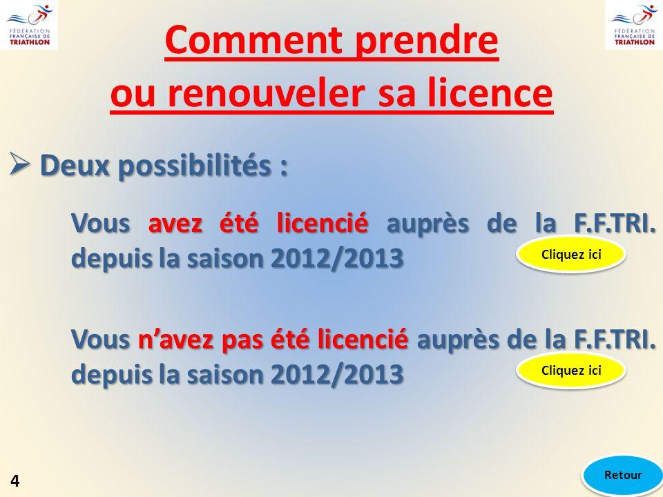 Comment prendre ou renouveler sa licence Deux possibilités : Deux possibilités : Vous avez été licencié auprès de la F.F.TRI. depuis la saison 2012/20