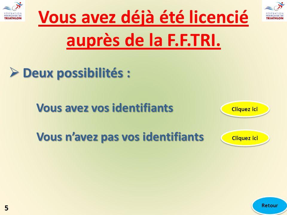 Vous avez déjà été licencié auprès de la F.F.TRI. Deux possibilités : Deux possibilités : Vous avez vos identifiants Cliquez ici Vous navez pas vos id