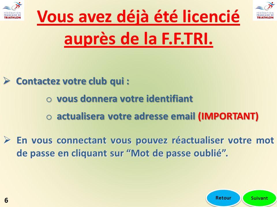 Vous avez déjà été licencié auprès de la F.F.TRI. Contactez votre club qui : Contactez votre club qui : o vous donnera votre identifiant o actualisera