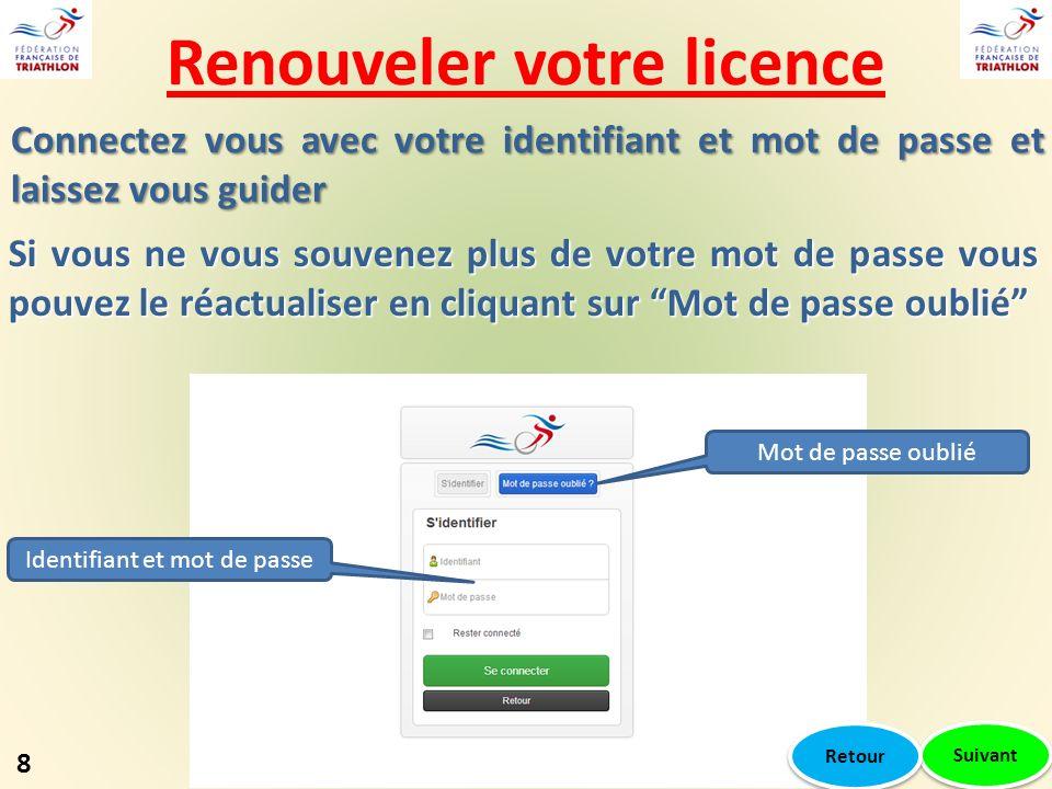 Renouveler votre licence Suivant Mot de passe oublié Identifiant et mot de passe Si vous ne vous souvenez plus de votre mot de passe vous pouvez le ré
