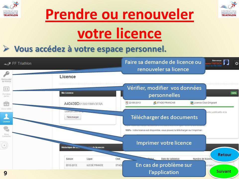 Prendre ou renouveler votre licence Suivant Faire sa demande de licence ou renouveler sa licence Vérifier, modifier vos données personnelles Télécharger des documents Imprimer votre licence En cas de problème sur lapplication 9 Retour Vous accédez à votre espace personnel.