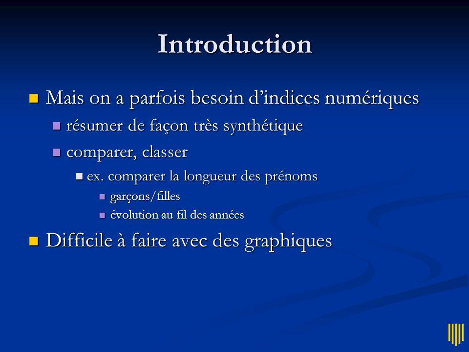 Introduction Représentations graphiques Représentations graphiques renseignent sur la forme des distributions renseignent sur la forme des distributio