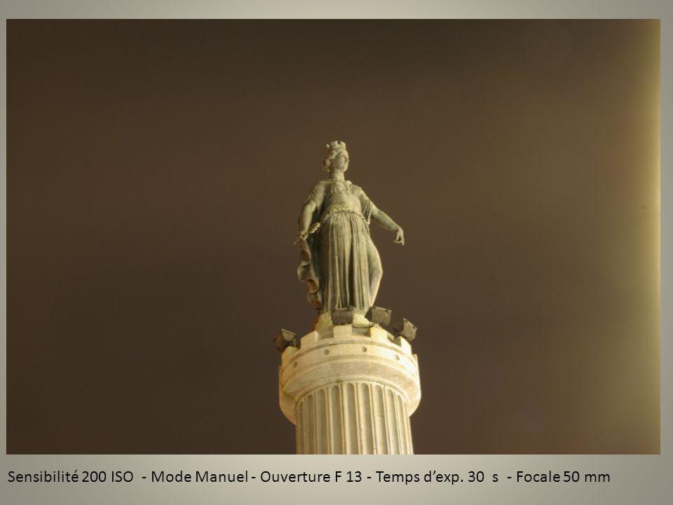 Sensibilité 200 ISO - Mode Manuel - Ouverture F 13 - Temps dexp. 30 s - Focale 50 mm