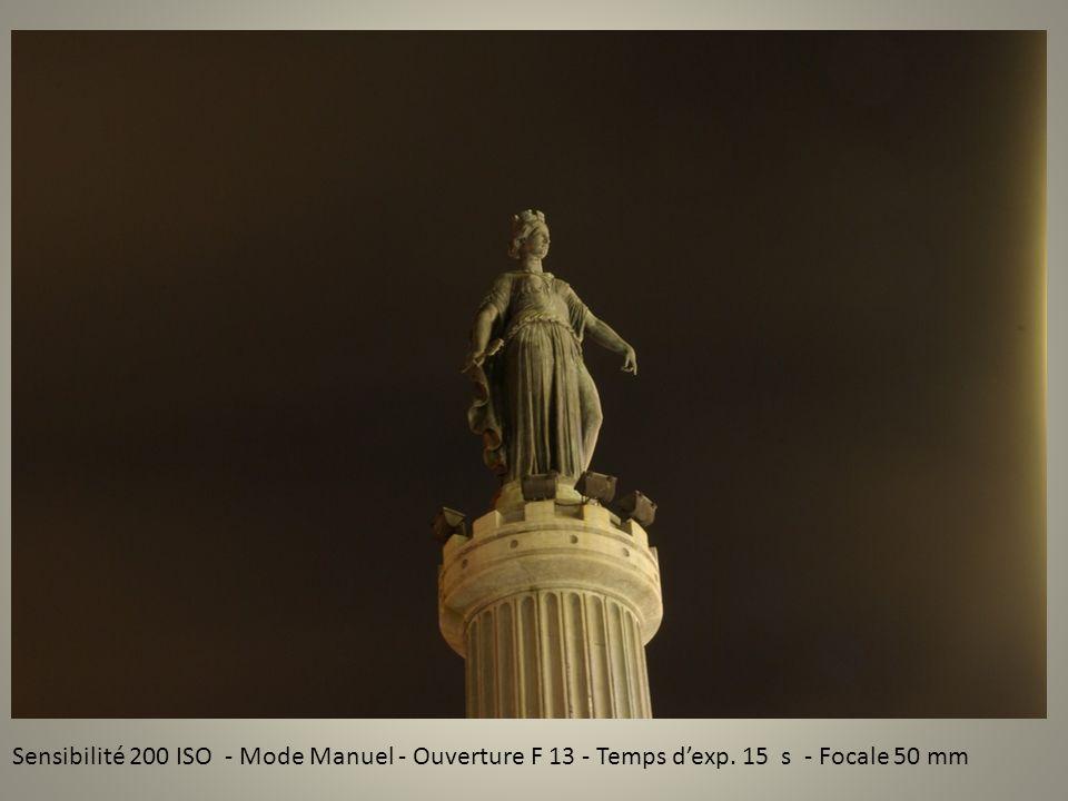 Sensibilité 200 ISO - Mode Manuel - Ouverture F 13 - Temps dexp. 15 s - Focale 50 mm