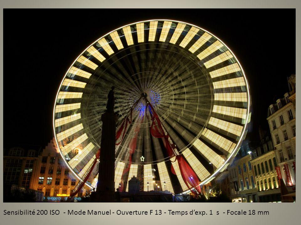 Sensibilité 200 ISO - Mode Manuel - Ouverture F 13 - Temps dexp. 1 s - Focale 18 mm