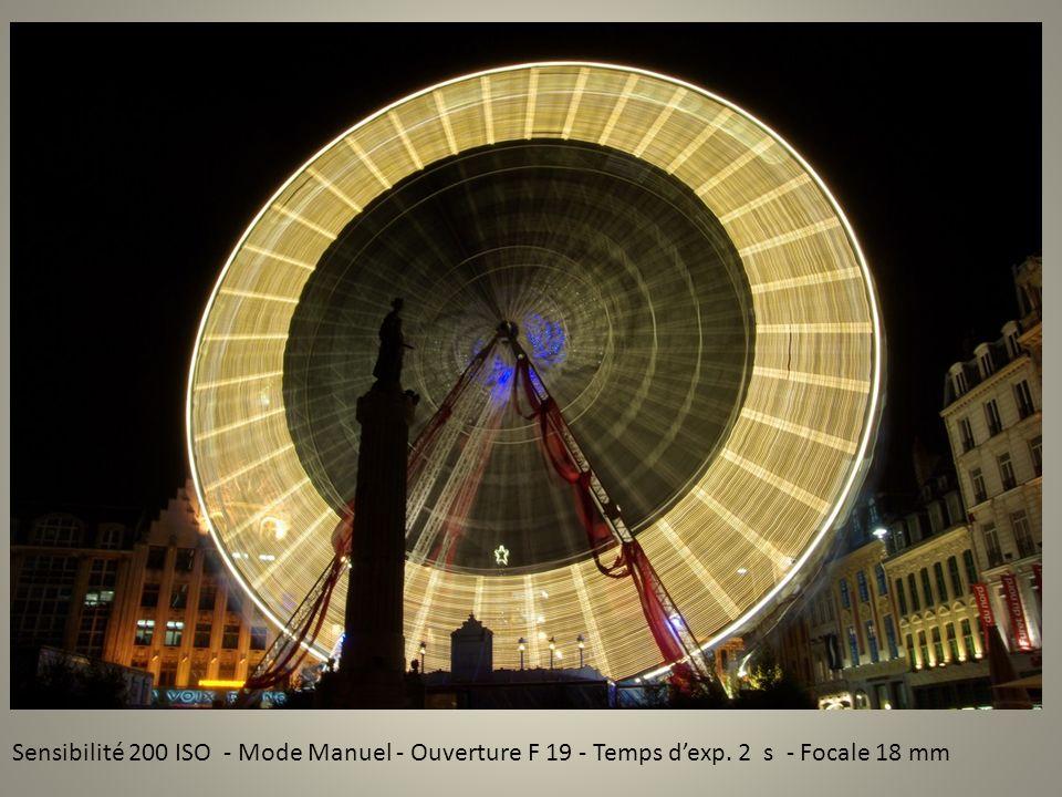 Sensibilité 200 ISO - Mode Manuel - Ouverture F 19 - Temps dexp. 2 s - Focale 18 mm