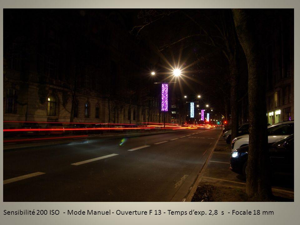 Sensibilité 200 ISO - Mode Manuel - Ouverture F 13 - Temps dexp. 2,8 s - Focale 18 mm