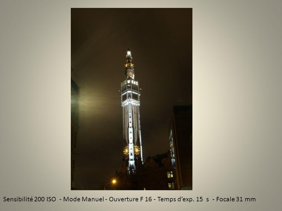 Sensibilité 200 ISO - Mode Manuel - Ouverture F 16 - Temps dexp. 15 s - Focale 31 mm