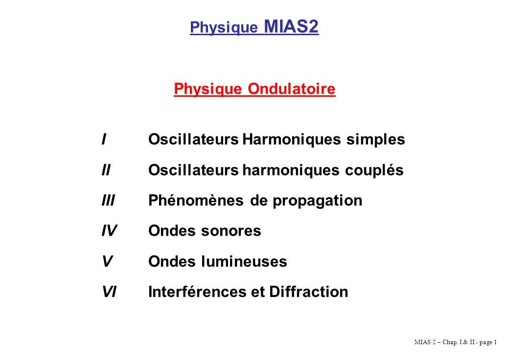 MIAS 2 – Chap. I & II - page 1 Physique MIAS2 Physique Ondulatoire IOscillateurs Harmoniques simples IIOscillateurs harmoniques couplés IIIPhénomènes
