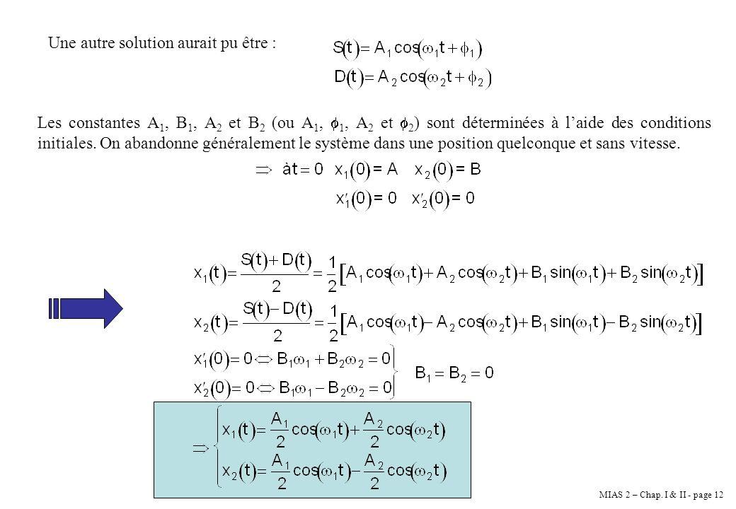 MIAS 2 – Chap. I & II - page 12 Une autre solution aurait pu être : Les constantes A 1, B 1, A 2 et B 2 (ou A 1, 1, A 2 et 2 ) sont déterminées à laid
