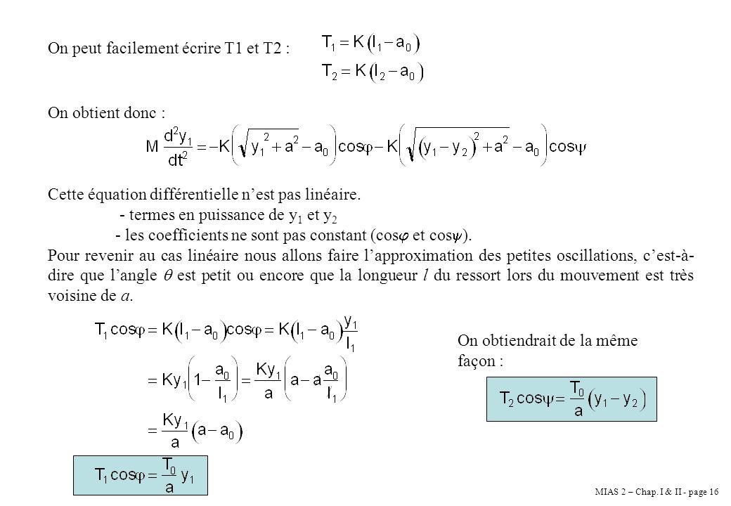 MIAS 2 – Chap. I & II - page 16 On peut facilement écrire T1 et T2 : On obtient donc : Cette équation différentielle nest pas linéaire. - termes en pu