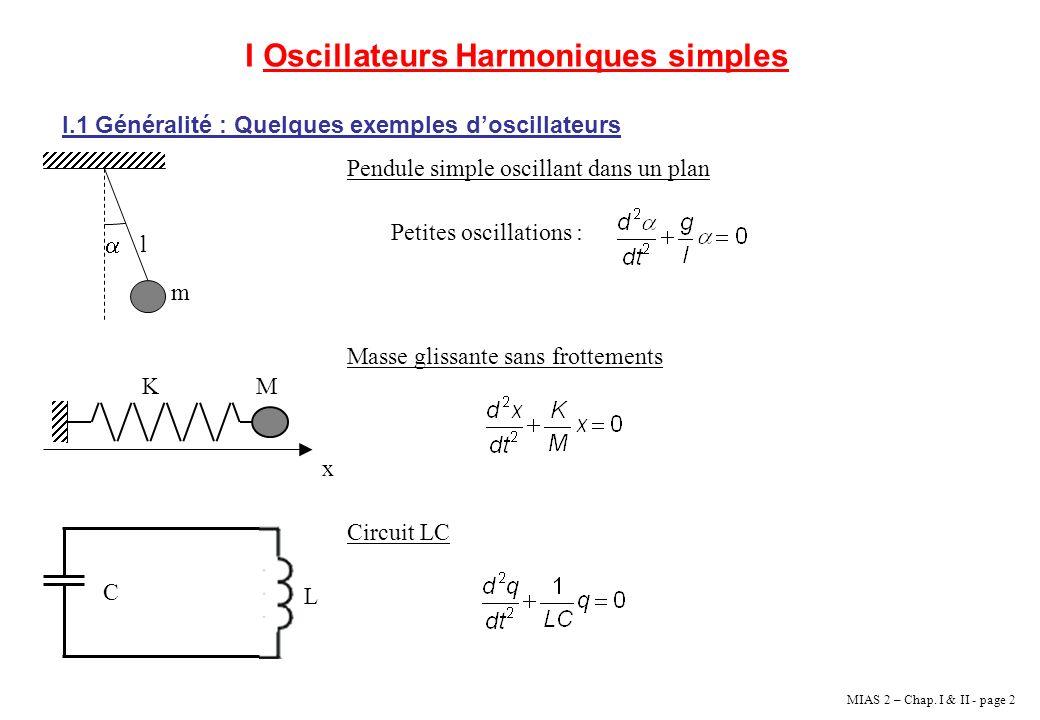 MIAS 2 – Chap. I & II - page 2 I Oscillateurs Harmoniques simples I.1 Généralité : Quelques exemples doscillateurs l m x MK C L Pendule simple oscilla