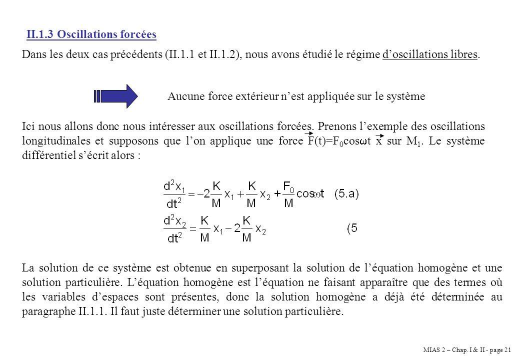 MIAS 2 – Chap. I & II - page 21 II.1.3 Oscillations forcées Dans les deux cas précédents (II.1.1 et II.1.2), nous avons étudié le régime doscillations