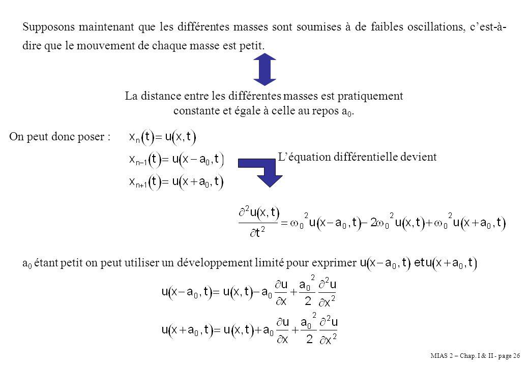 MIAS 2 – Chap. I & II - page 26 Supposons maintenant que les différentes masses sont soumises à de faibles oscillations, cest-à- dire que le mouvement
