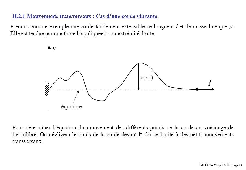 MIAS 2 – Chap. I & II - page 28 II.2.1 Mouvements transversaux : Cas dune corde vibrante Prenons comme exemple une corde faiblement extensible de long