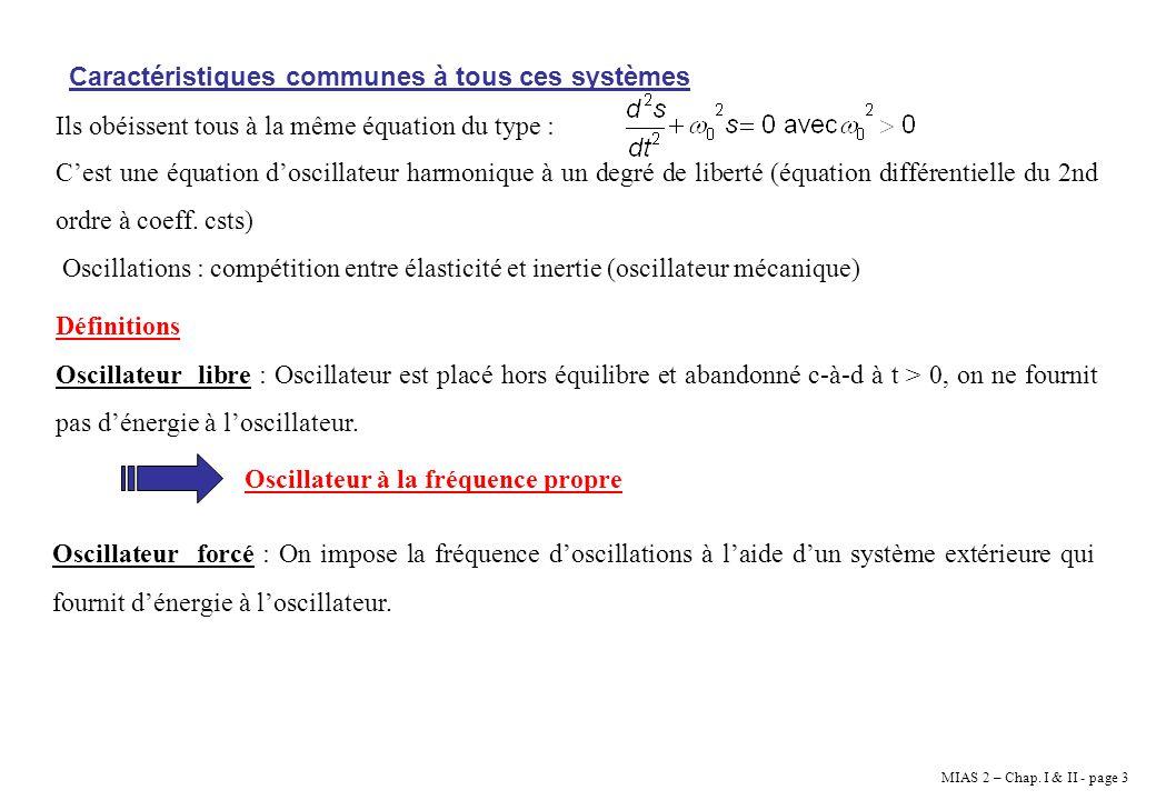 MIAS 2 – Chap. I & II - page 3 Caractéristiques communes à tous ces systèmes Ils obéissent tous à la même équation du type : Cest une équation doscill