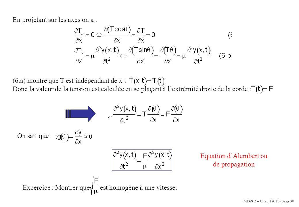 MIAS 2 – Chap. I & II - page 30 En projetant sur les axes on a : (6.a) montre que T est indépendant de x : Donc la valeur de la tension est calculée e