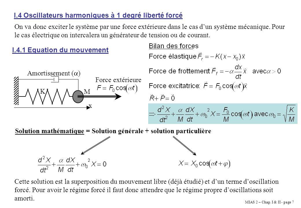 MIAS 2 – Chap. I & II - page 7 I.4 Oscillateurs harmoniques à 1 degré liberté forcé On va donc exciter le système par une force extérieure dans le cas