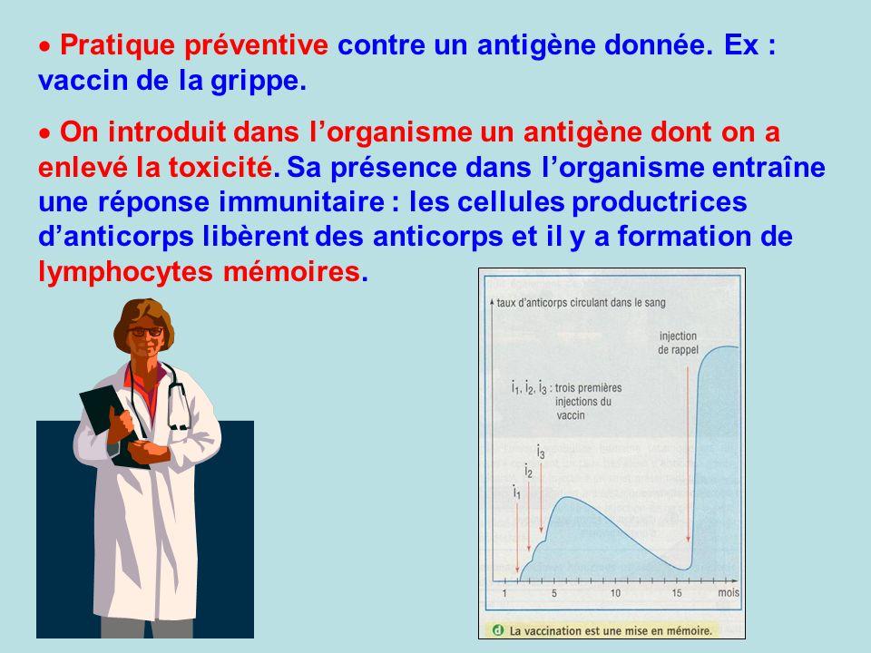 Pratique préventive contre un antigène donnée. Ex : vaccin de la grippe. On introduit dans lorganisme un antigène dont on a enlevé la toxicité. Sa pré