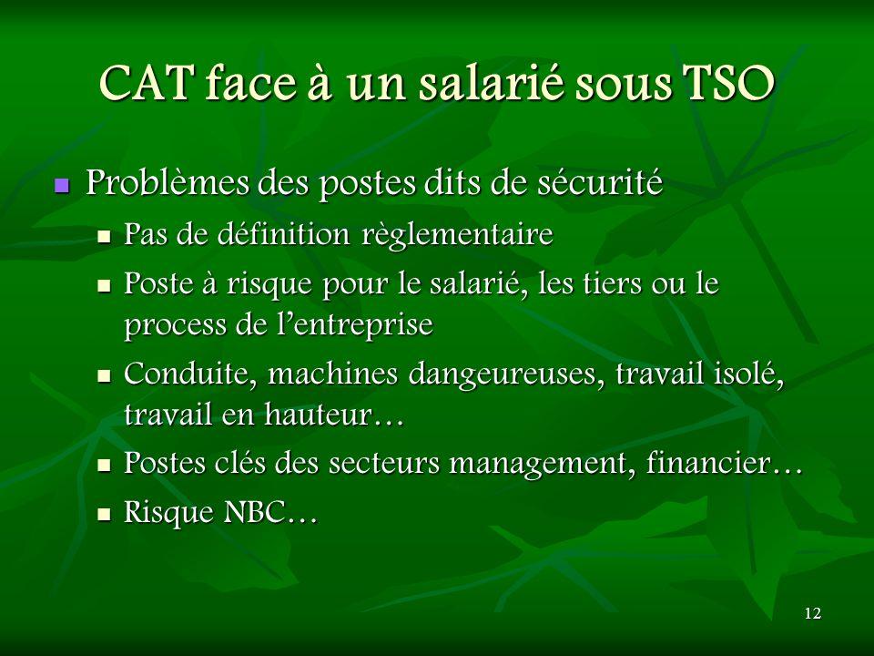 12 CAT face à un salarié sous TSO Problèmes des postes dits de sécurité Problèmes des postes dits de sécurité Pas de définition règlementaire Pas de d