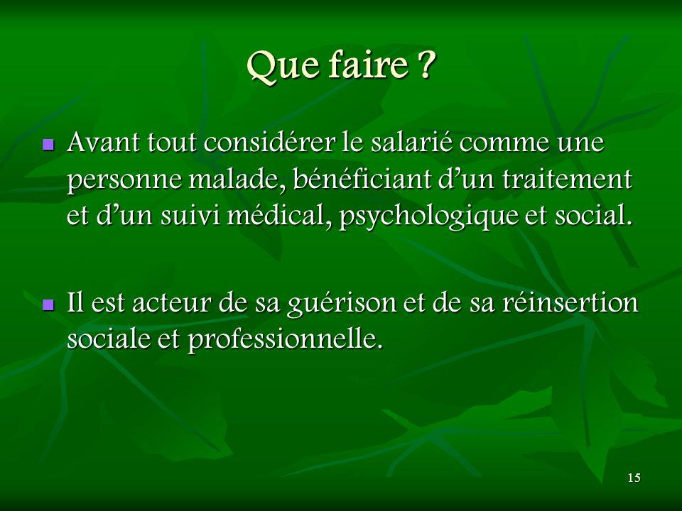 15 Que faire ? Avant tout considérer le salarié comme une personne malade, bénéficiant dun traitement et dun suivi médical, psychologique et social. A
