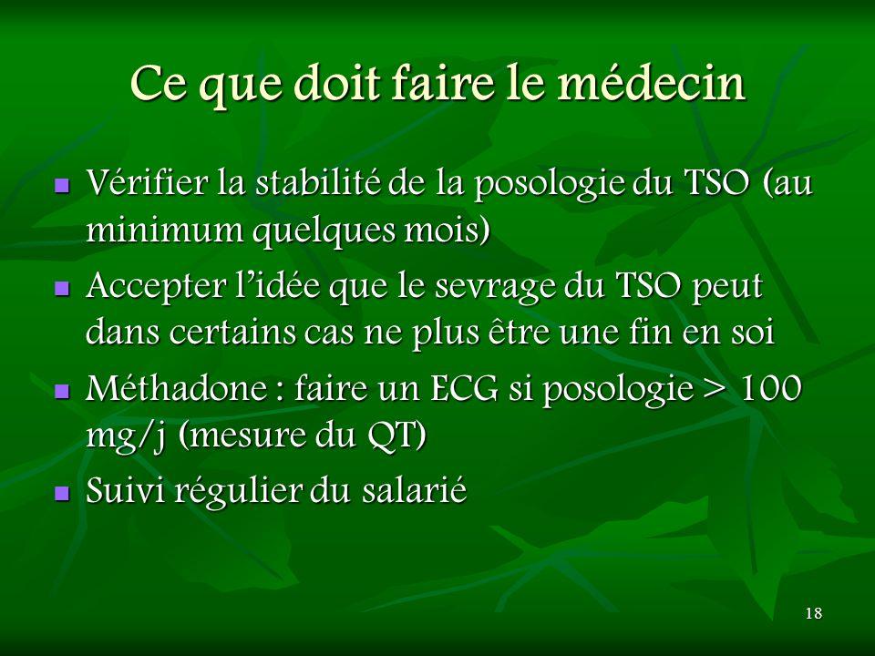 18 Ce que doit faire le médecin Vérifier la stabilité de la posologie du TSO (au minimum quelques mois) Vérifier la stabilité de la posologie du TSO (