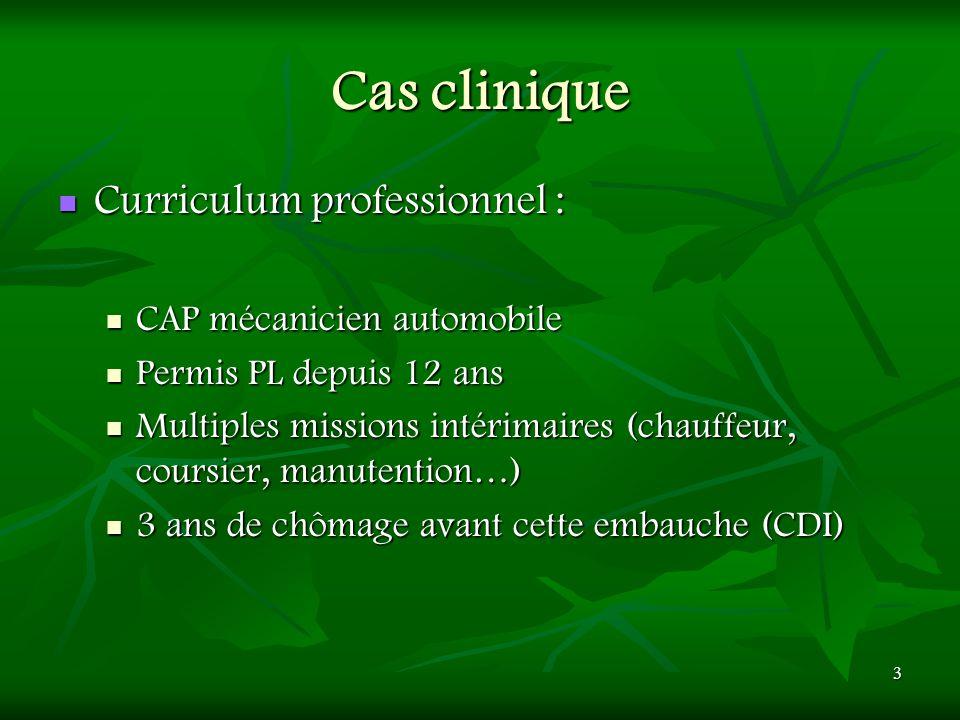 3 Cas clinique Curriculum professionnel : Curriculum professionnel : CAP mécanicien automobile CAP mécanicien automobile Permis PL depuis 12 ans Permi