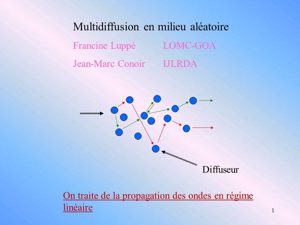 1 Multidiffusion en milieu aléatoire Francine LuppéLOMC-GOA Jean-Marc Conoir IJLRDA On traite de la propagation des ondes en régime linéaire Diffuseur