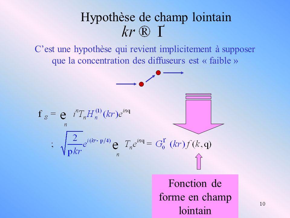 10 Hypothèse de champ lointain Cest une hypothèse qui revient implicitement à supposer que la concentration des diffuseurs est « faible » Fonction de
