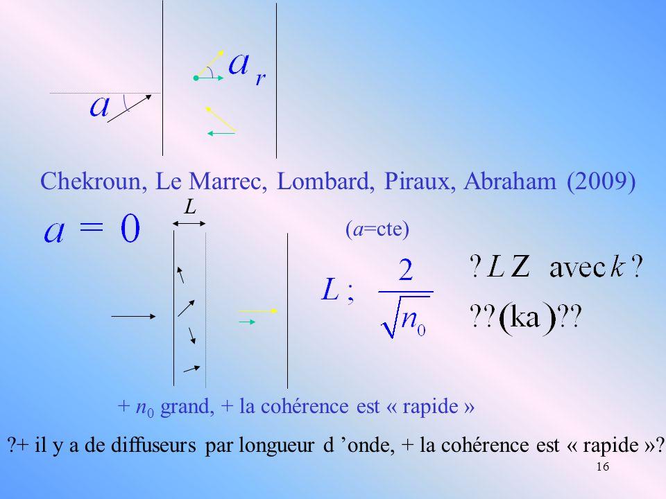 16 Chekroun, Le Marrec, Lombard, Piraux, Abraham (2009) L + n 0 grand, + la cohérence est « rapide » (a=cte) ?+ il y a de diffuseurs par longueur d on