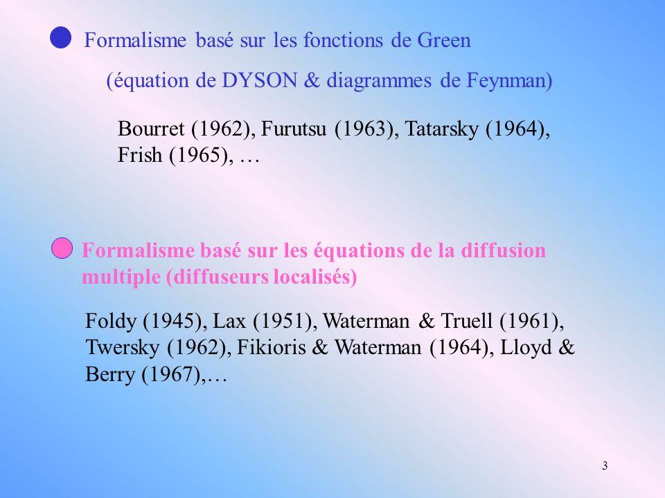 3 Formalisme basé sur les équations de la diffusion multiple (diffuseurs localisés) Foldy (1945), Lax (1951), Waterman & Truell (1961), Twersky (1962)
