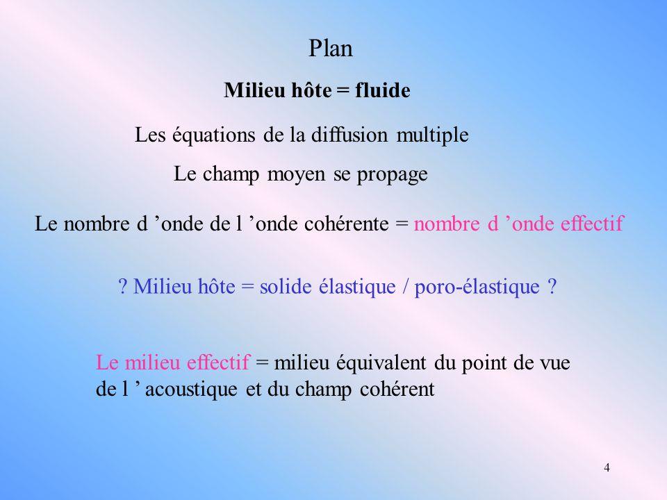 4 Plan Milieu hôte = fluide Les équations de la diffusion multiple Le nombre d onde de l onde cohérente = nombre d onde effectif Le milieu effectif =