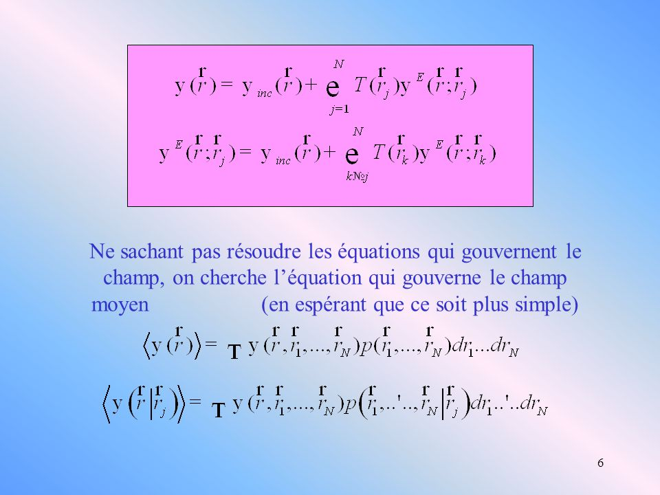 6 Ne sachant pas résoudre les équations qui gouvernent le champ, on cherche léquation qui gouverne le champ moyen (en espérant que ce soit plus simple