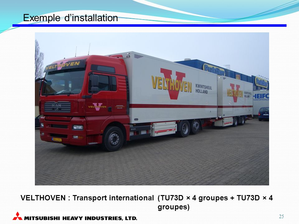 VELTHOVEN : Transport international(TU73D × 4 groupes + TU73D × 4 groupes) Exemple dinstallation 25