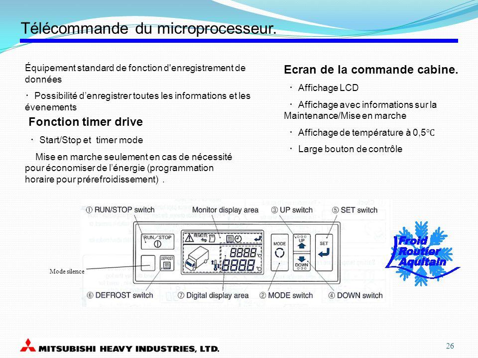 Télécommande du microprocesseur. Équipement standard de fonction d'enregistrement de données Possibilité denregistrer toutes les informations et les é