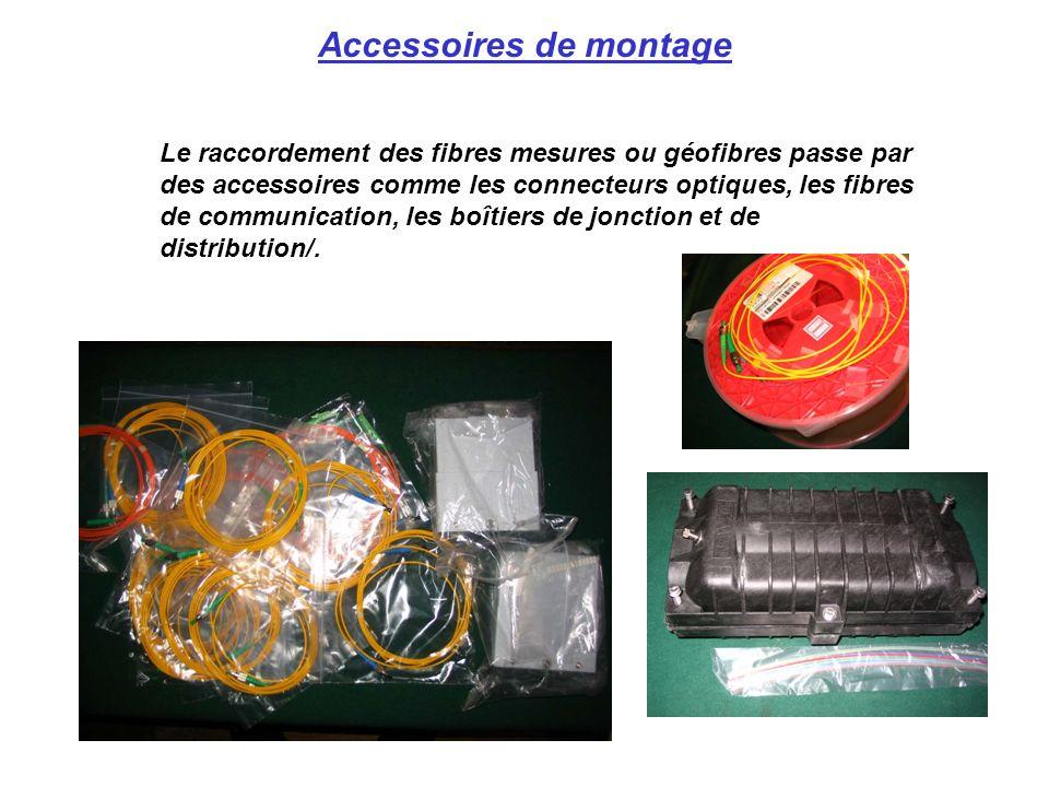 Accessoires de montage Le raccordement des fibres mesures ou géofibres passe par des accessoires comme les connecteurs optiques, les fibres de communi