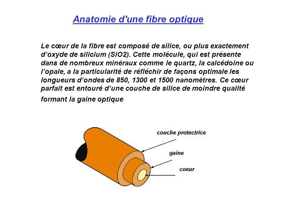 Le cœur de la fibre est composé de silice, ou plus exactement doxyde de silicium (SiO2). Cette molécule, qui est présente dans de nombreux minéraux co