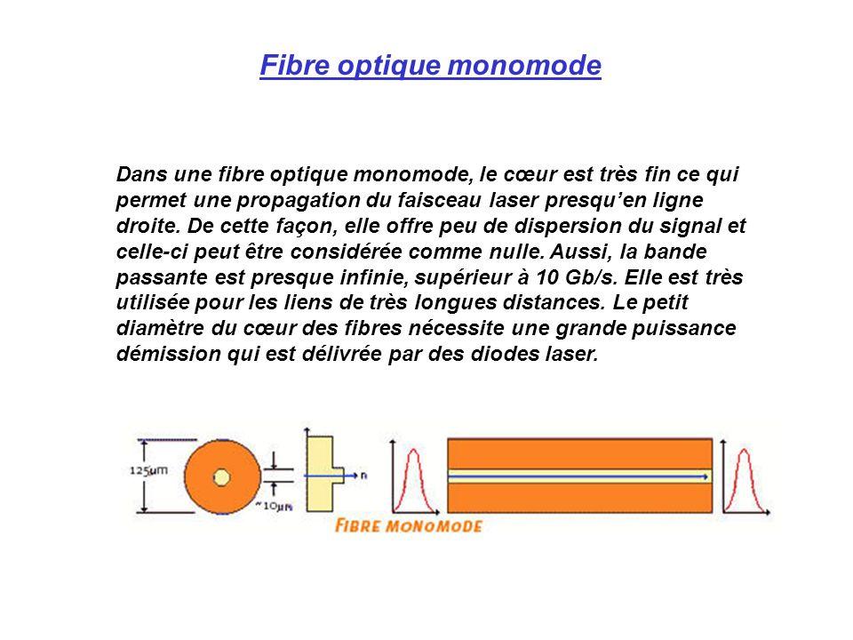 Dans une fibre optique monomode, le cœur est très fin ce qui permet une propagation du faisceau laser presquen ligne droite.