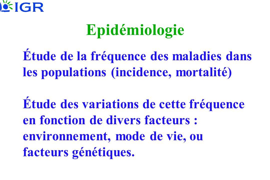 Epidémiologie Étude de la fréquence des maladies dans les populations (incidence, mortalité) Étude des variations de cette fréquence en fonction de di