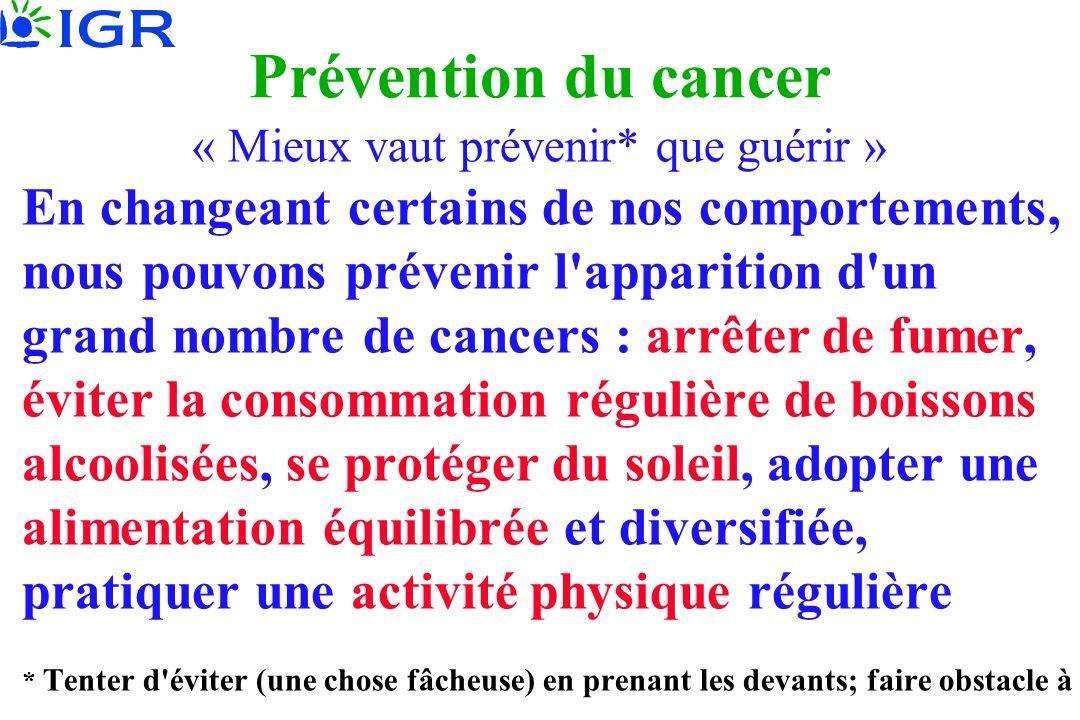 Prévention du cancer « Mieux vaut prévenir* que guérir » En changeant certains de nos comportements, nous pouvons prévenir l'apparition d'un grand nom
