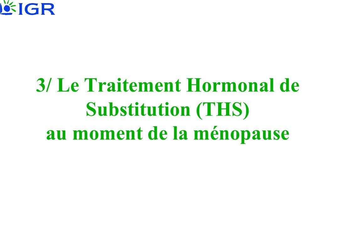 3/ Le Traitement Hormonal de Substitution (THS) au moment de la ménopause