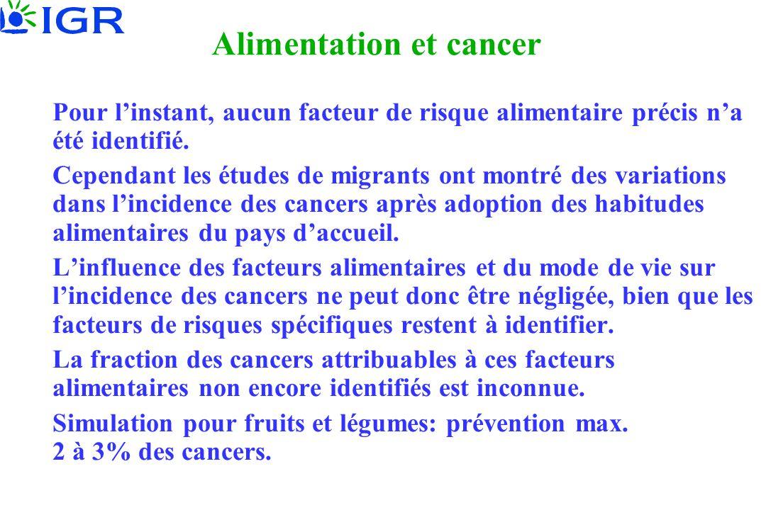 Alimentation et cancer Pour linstant, aucun facteur de risque alimentaire précis na été identifié. Cependant les études de migrants ont montré des var