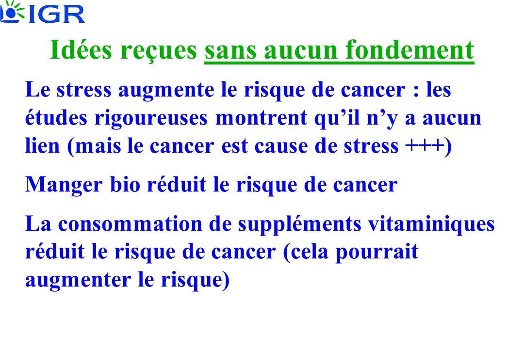 Idées reçues sans aucun fondement Le stress augmente le risque de cancer : les études rigoureuses montrent quil ny a aucun lien (mais le cancer est ca