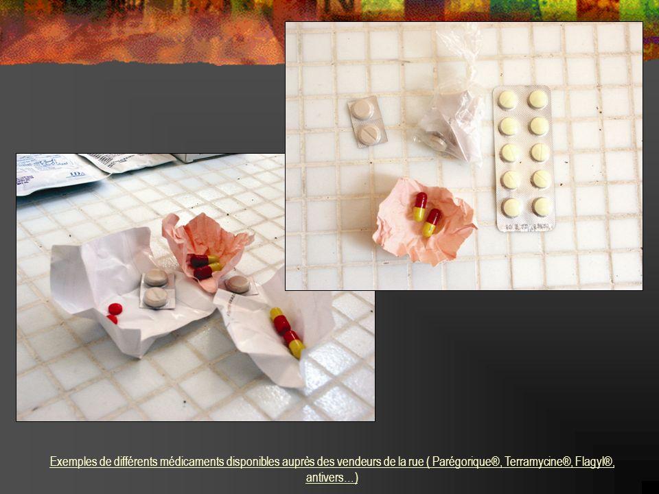 .. Exemples de différents médicaments disponibles auprès des vendeurs de la rue ( Parégorique®, Terramycine®, Flagyl®, antivers…)