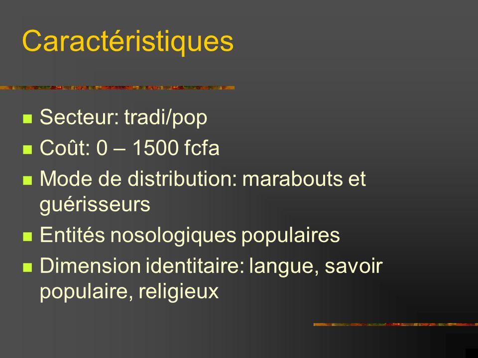 Caractéristiques Secteur: tradi/pop Coût: 0 – 1500 fcfa Mode de distribution: marabouts et guérisseurs Entités nosologiques populaires Dimension ident